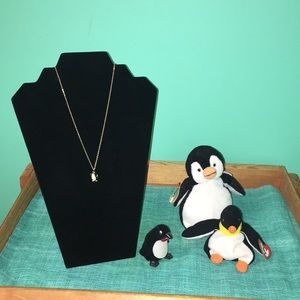 3 pc. Penguin lot. 2 BB, 1 necklace w/ gift box